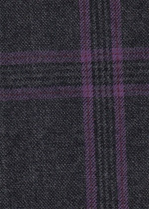 Charcoal with Purple Check